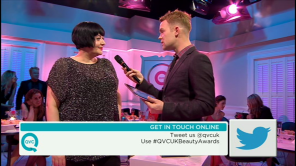 Nikki Taylor interviewed on QVC TV by presenter Will Gowing