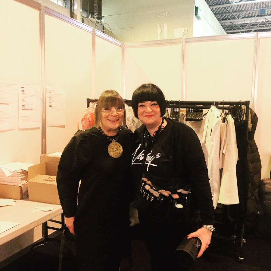 Nikki Taylor backstage at The Clothes Show with Hilary Alexander OBE