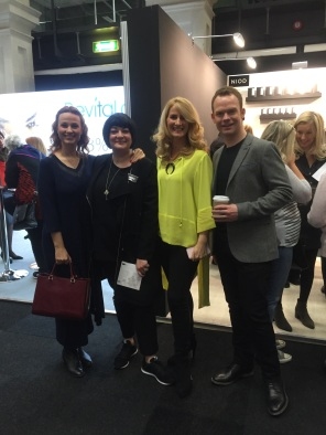 Nikki Taylor with QVC TV presenters Catherine Huntley, Claire Sutton and Will Gowing