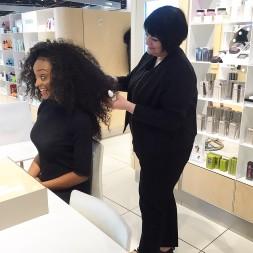 Nikki Taylor trains the Selfridges team in OUAI Haircare
