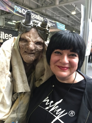 Nikki Taylor with a character created at IMATS