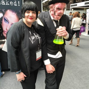 Nikki Taylor politely refuses a drink at IMATS London!
