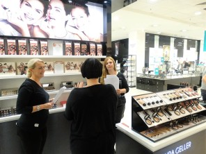 Nikki Taylor training the Laura Geller team in Leeds for launch
