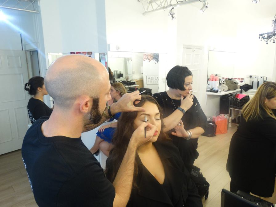 Nikki Taylor training the Laura Geller UK Pro Makeup Artist Team