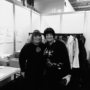 Nikki Taylor with Hilary Alexander OBE backstage at The Clothes Show