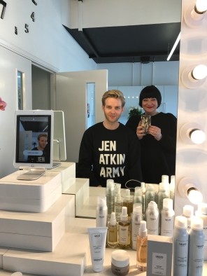 Nikki Taylor with Scott Markin Director of Education for OUAI Haircare