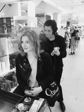 Nikki Taylor demonstrates OUAI Haircare in Harvey Nichols Edinburgh