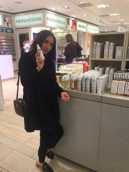Jen Atkin in Selfridges London checking out the OUAI Haircare display