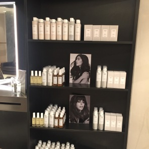 OUAI Haircare on display at the Hershesons OUAI Haircare pop-up