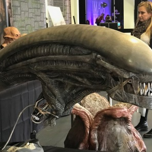 Practical special effects pieces from the Alien: Covenant movie on display in the Makeup Museum at IMATS