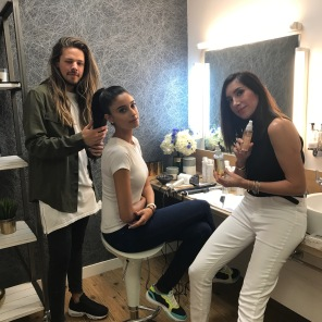 Jen Atkin and hairstylist Dom Seeley behind the scenes at This Morning