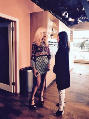 Jen Atkin chats off air to Pixie Lott who was also appearing on the This Morning show