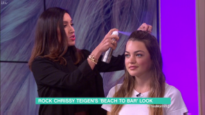 Jen Atkin live on This Morning on ITV demonstrating her OUAI Haircare