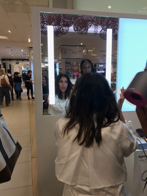 Jen Atkin on the Selfridges shop floor getting styled with the Dyson Supersonic
