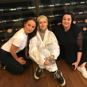 Nikki Taylor and Hayley Adams with DJ and guest model Samantha Togni at the Vin + Omi SS18 London Fashion Week showcase