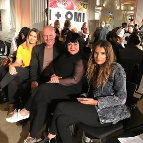 Nikki Taylor front row with Cult Beauty beauty buyer Louisa Harris, blogger Leanne Page and MMCL MD Mark McDonald at the Vin + Omi London Fashion Week SS18 showcase