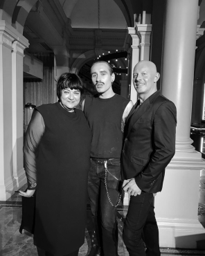 Nikki Taylor and MMCL MD Mark McDonald with lead hairstylist Jake Gallagher