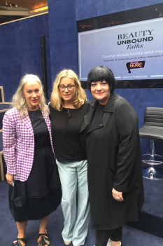 Nikki Taylor with Anna-Marie Solowij and Millie Kendall MBE of BeautyMart