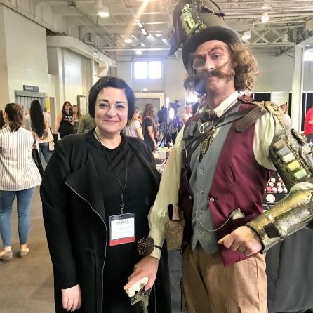 Nikki Taylor meets a character created at IMATS
