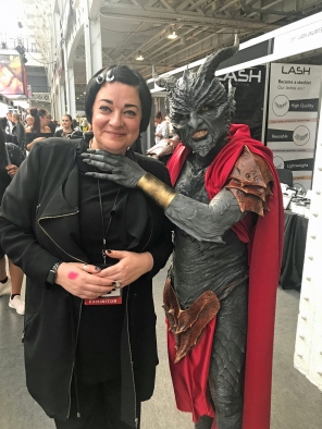 Nikki Taylor meets a character created at IMATS
