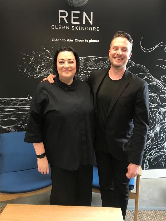 Nikki Taylor with REN Clean Skincare Global Ambassador & Head of Education David Leigh Delport